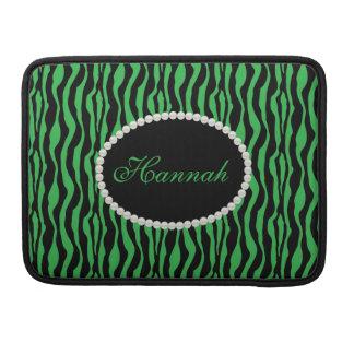 Bolsa Para MacBook Pro Luva verde chique de Macbook do monograma do