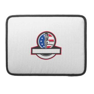 Bolsa Para MacBook Pro Mão do canalizador que guardara o círculo Banne da