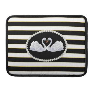 Bolsa Para MacBook Pro O preto elegante listra a luva de Macbook das