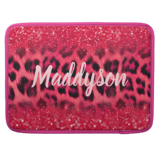 Bolsa Para MacBook Pro Pontos do leopardo do brilho do rosa do falso para