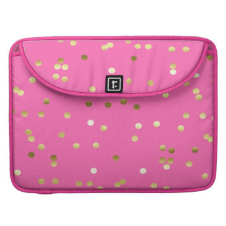 Bolsa Para MacBook Pro Rosa quente dos confetes na moda da folha de ouro