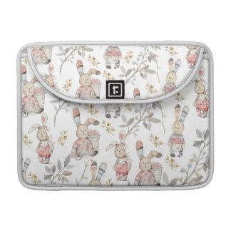 Bolsa Para MacBook Teste padrão bonito da aguarela dos coelhinhos da