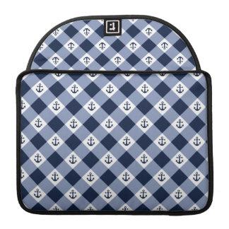 Bolsa Para MacBook Teste padrão checkered náutico diagonal do guingão