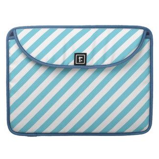 Bolsa Para MacBook Teste padrão diagonal azul e branco das listras