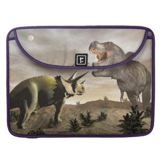 Bolsa Para MacBook Tiranossauro que ruje no triceratops - 3D rendem