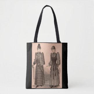 Bolsa Tote 1895 senhoras casaco e vestido do impressão do