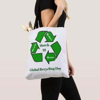 Bolsa Tote 18 de março, design global do dia do reciclagem