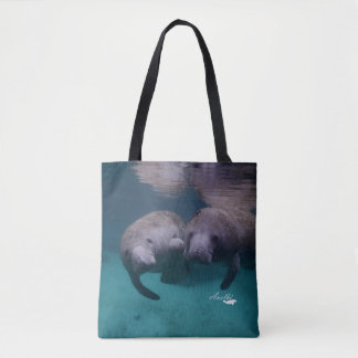 Bolsa Tote 2 amigos do peixe-boi por todo o lado na sacola