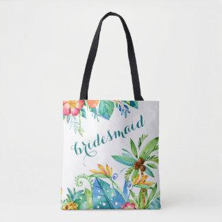 Bolsa Tote 2 florais tropicais dama de honra personalizada