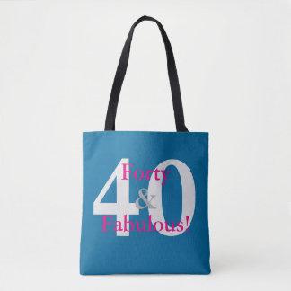 Bolsa Tote 40 & fabuloso! Rosa azul & quente do aniversário