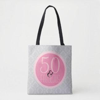 Bolsa Tote 50 e damasco cinzento cor-de-rosa chique fabuloso