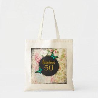 Bolsa Tote 50 fabulosos borboleta verde na colagem do vintage