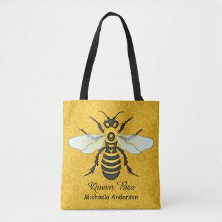 Bolsa Tote A abelha de rainha | bonito do favo de mel da