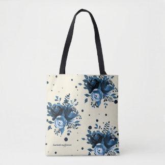 Bolsa Tote A aguarela azul floral com pontos e adiciona o