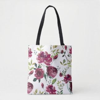 Bolsa Tote A aguarela Borgonha floresce o teste padrão floral
