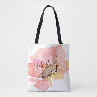 Bolsa Tote A aguarela cora irmã floral cor-de-rosa da noiva