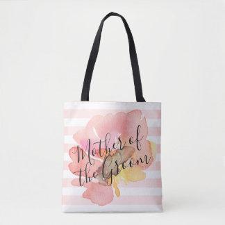 Bolsa Tote A aguarela cora mãe floral do pêssego do noivo