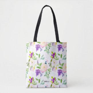 Bolsa Tote A aguarela delicado floresce peônias e Wisterias