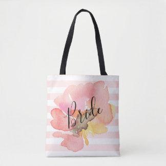 Bolsa Tote A aguarela feita sob encomenda cora noiva floral