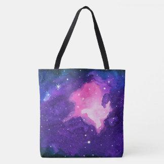 Bolsa Tote A arte da aguarela, nebulosa Stars o espaço do