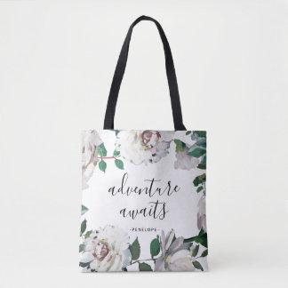 Bolsa Tote A aventura floral bonito espera com nome