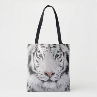 Bolsa Tote A cabeça branca do tigre toda sobre - imprima a