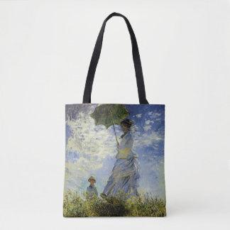 Bolsa Tote A caminhada, senhora com um parasol