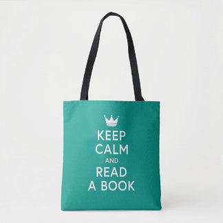 Bolsa Tote A cor editável Bookish mantem a calma e lê um
