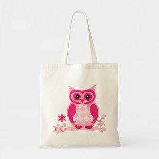 Bolsa Tote A coruja cor-de-rosa bonito em um ramo