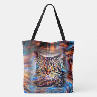 Bolsa Tote À deriva no gato abstrato da revolução das cores