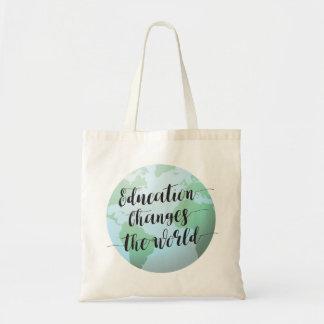 Bolsa Tote A educação muda as citações do mundo com globo