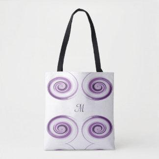 Bolsa Tote A escova violeta abstrata afaga a espiral