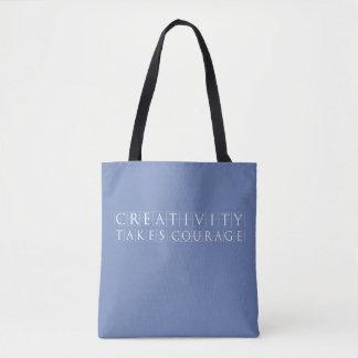 Bolsa Tote A faculdade criadora toma a coragem Azul-Cinzenta