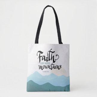 Bolsa Tote A fé pode mover montanhas por todo o lado no saco