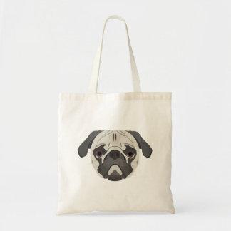 Bolsa Tote A ilustração persegue o Pug da cara