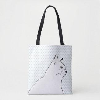 Bolsa Tote A lápis desenho do gato com bolinhas