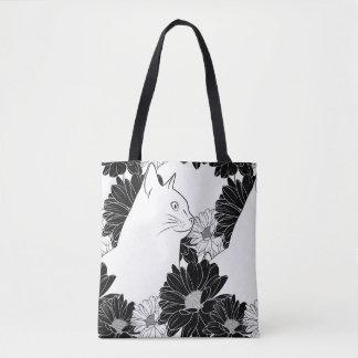 Bolsa Tote A lápis preto e branco desenho do gato com flores
