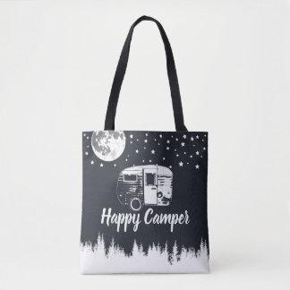 Bolsa Tote A lua de acampamento dos campistas felizes do