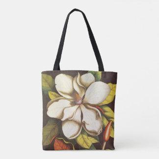 Bolsa Tote A magnólia do vintage floresce a planta com