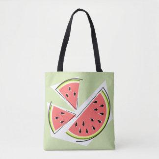 Bolsa Tote A melancia remenda a parte traseira verde do rosa