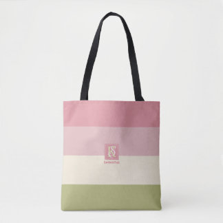 Bolsa Tote A paleta de cores do verde do rosa do creme listra