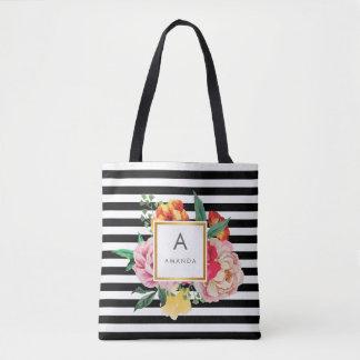 Bolsa Tote A peônia preto e branco da aguarela floresce o