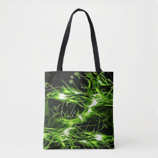 Bolsa Tote A pintura brilhante do abstrato verde do teste