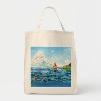 Bolsa Tote A pintura pequena do seascape da sereia