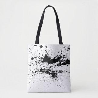 Bolsa Tote A pintura preto e branco espirra, deixa cair o