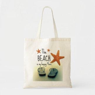 Bolsa Tote A praia é meu saco feliz dos chinelos do lugar