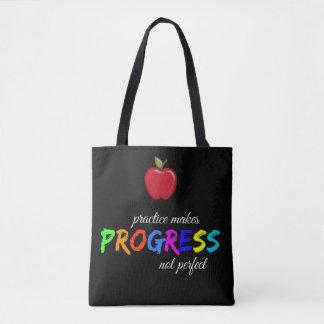 Bolsa Tote A prática faz o progresso