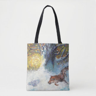 Bolsa Tote A raposa e o coelho - saco do animal selvagem