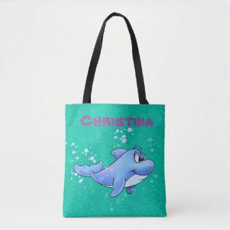 Bolsa Tote a sacola bonito do golfinho com personaliza o nome