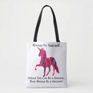Bolsa Tote A sacola com unicórnio colorido - seja você mesmo